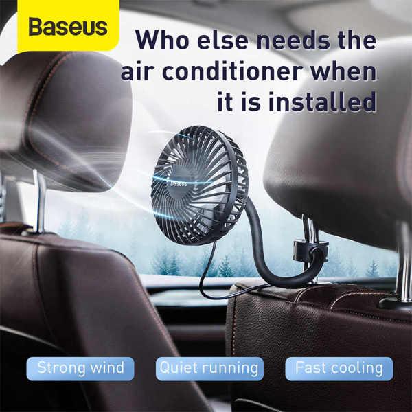 Quạt mini 3 chế độ Baseus Departure Vehicle Fan xoay 360 độ, có chân kẹp vào cửa gió điều hòa hoặc gắn ghế sau ô tô