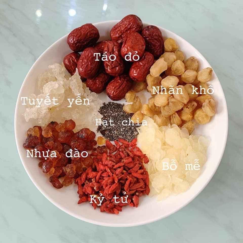 [HCM]Set Chè Dưỡng Nhan Tuyết Yến 10 Vị Chống Nhăn Rạn Da Chống Lão Hóa Giảm Mỡ - thực phẩm chức năng