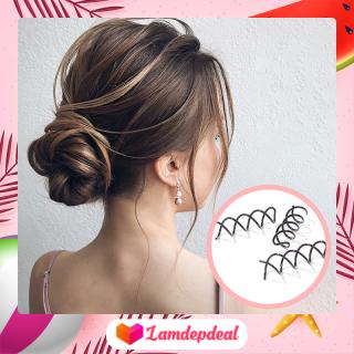 Lamdepdeal - Bộ 3 dụng cụ búi tóc xoắn ốc lò xo dễ thương cho bạn gái - Chất liệu kim loại siêu bền, chống rối tóc, dễ sử dụng thumbnail