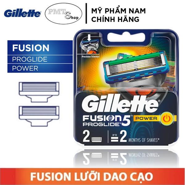 [Đức] Hộp Lưỡi dao cạo râu cao cấp Gillette Fusion Proglide Power 5 lưỡi vỉ 2 cái