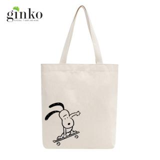Túi tote vải mộc GINKO dây kéo in hình Snoopy and Friends (Nhiều Mẫu) thumbnail