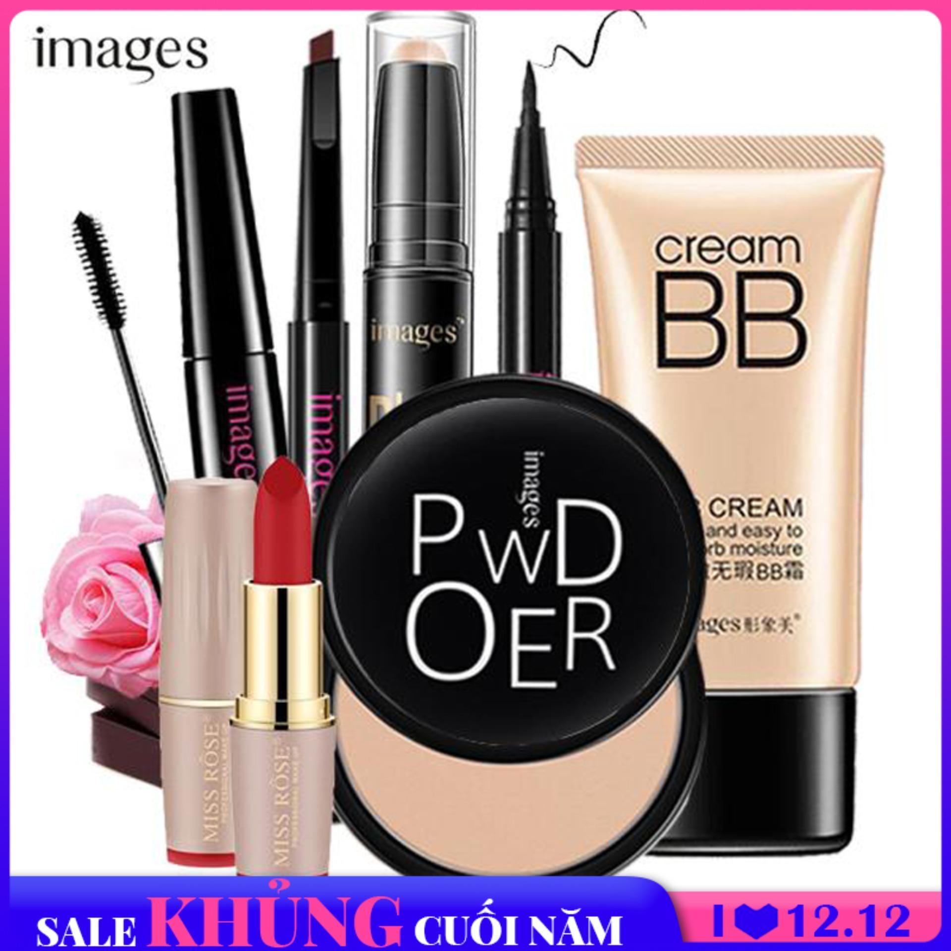 Giá Rẻ Trong Hôm Nay Khi Sở Hữu Bộ Trang điểm Chuyên Nghiệp IMAGES 7 Món Kem BB Che Khuyết điểm + Phấn Phủ Kiềm Dầu Cao Cấp+ Bút Tạo Khối + Chì Kẻ Mày Lâu Trôi + Bút Dạ Kẻ Mắt + Mascara 4d + Son Siêu Lì Bộ Makeup Cá Nhân Bộ Trang điểm Cơ Bản XP-BT761