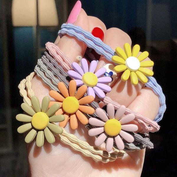 dây buộc tóc thun hoa cúc nhiều màu sắc (dây cột tóc) cao cấp