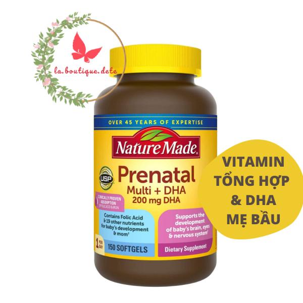 Viên uống vitamin tổng hợp & DHA cho mẹ bầu Nature Made Prenatal Multi DHA 200mg 150 viên - Hàng Mỹ