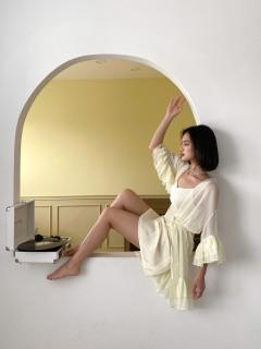 Áo choàng ngủ viền tơ bèo bay bổng nữ tính cho nữ thumbnail