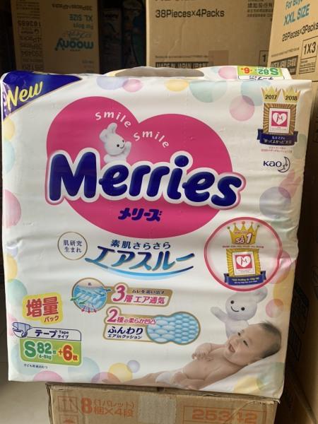 1 Gói Tã Dán Merries Nhật Size NewBorn 90/ S82/ M64/L54/XL44 Miếng Không Quà (Tã Nhật Nhập Khẩu)