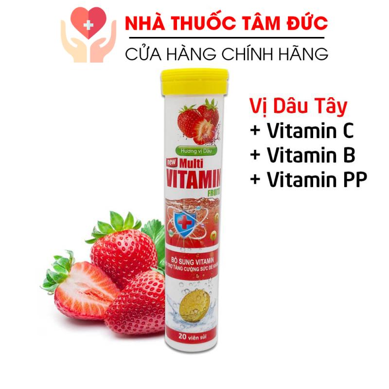 [HCM]Viên sủi vị dâu tây Multivitamin PLUSZZS - FRUITS Vitamin C B PP tăng cường sức đề kháng - 20 viên giá rẻ