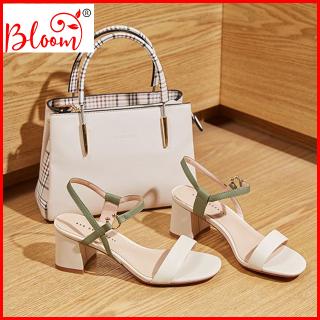 Giày Sandal cao gót nữ 5p quai ngang YUKIBLOOM Giày sandal nữ cao gót Sang Trọng G10 Hàng VNXK thumbnail