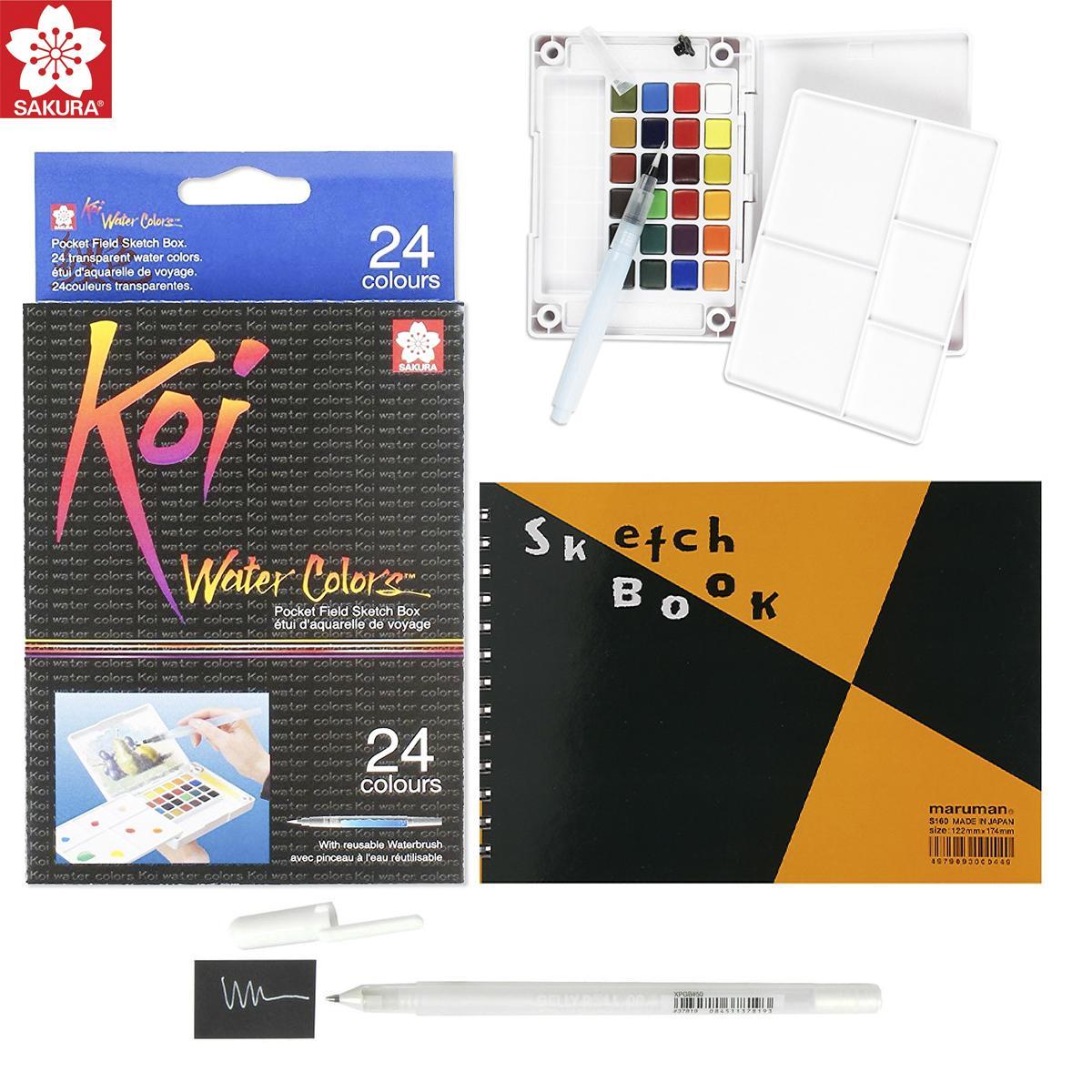 Mua Màu Nước Sakura Koi 24 Màu - Tặng Sổ Sketch Book kèm Bút Gelly trắng Sakura và bảng pha màu