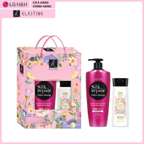 Bộ quà tặng: Dầu gội Elastine Silk Repair nuôi dưỡng tóc chắc khỏe và bóng mượt 550ml- Quà tặng: Sữa tắm On: the Body Perfume bột ngọc trai dưỡng ẩm trắng da 130gr nhập khẩu