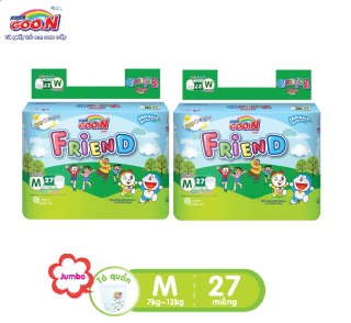 Combo 2 bịch Tã quần Goo.N Friend gói đại size M27 miếng dành cho bé từ 5 -12 kg thumbnail