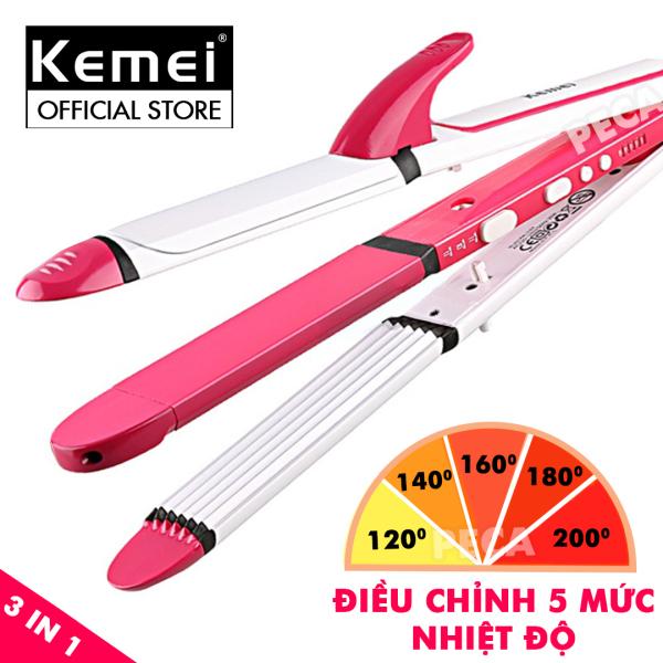 Máy làm tóc đa năng 3 in 1 điều chỉnh nhiệt 5 mức Kemei KM-3304 có thể uốn,duỗi,bấm tiện lợi,làm nóng nhanh - phân phối chính hãng nhập khẩu