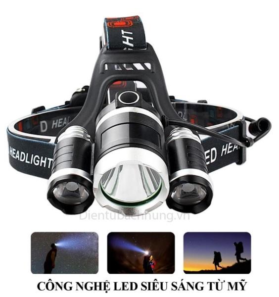Bảng giá Đèn pin siêu sáng, đèn pin đội đầu 3 bóng siêu sáng, đèn led đội đầu 3 bóng + 2 pin sạc 18650 + 1 củ sạc, Den pin sieu sang doi dau 3 bong
