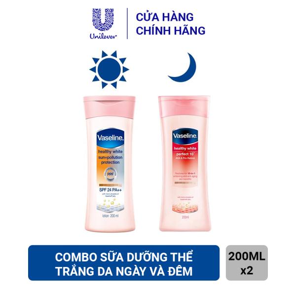 Combo Sữa Dưỡng Thể Chống Nắng Vaseline Spf 24 (Ngày) (200ml) Và Chống Lão Hóa Vaseline Perfect 10 (Đêm) (200ml) nhập khẩu