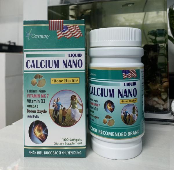 LIQUID CALCIUM NANO bổ sung Canxi giúp phòng chống còi xương tăng cường phát triển hệ xương hộp 100 viên chính hãng