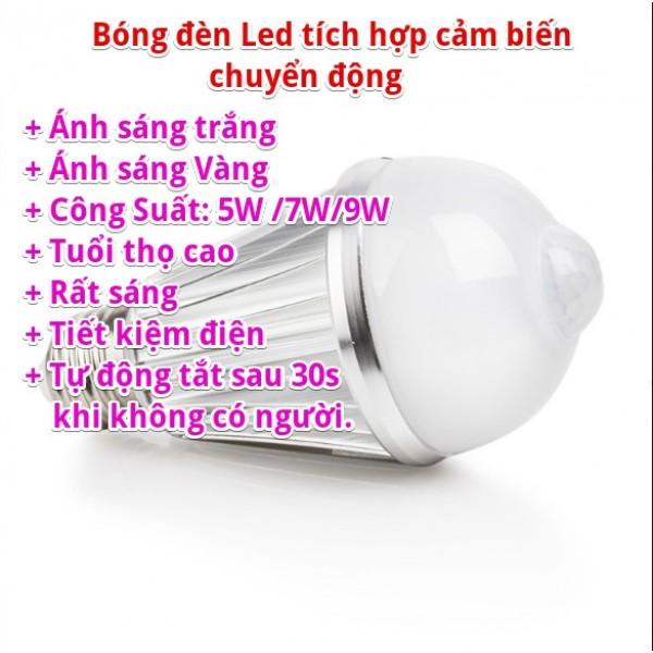Bóng Đèn Led Lắp Nhà Vệ Sinh, Đèn Cầu Thang, Đèn Hành Lang - Tự Động Bật Đèn Khi Có Người (Tích Hợp Mắt Thần Hồng Ngoại)