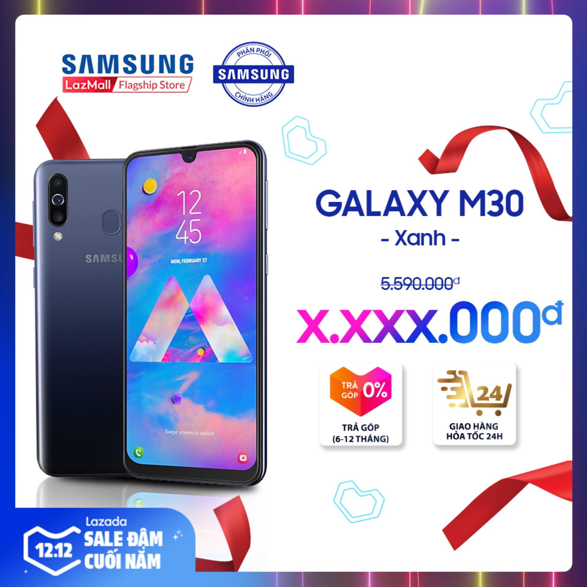Voucher Ưu Đãi Điện Thoại Samsung Galaxy M30 64GB (4GB) - Màn Hình Tràn Viền Vô Cực 6.4   SUPER AMOLED Full HD + Cụm 3 Camera Sau + Siêu Pin 5000 MAh + 2 Nano Sim - Hàng Phân Phối Chính Hãng.