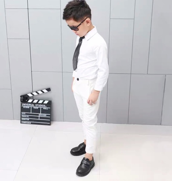 Set bộ bé trai - Set áo sơ mi trắng quần kaki lịch lãm size từ 10-40kg