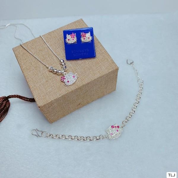 Bộ mèo kitty cho bé 3 món dây và bông bạc, sản phẩm tốt và đạt chất lượng cao, cam kết giống như hình ảnh
