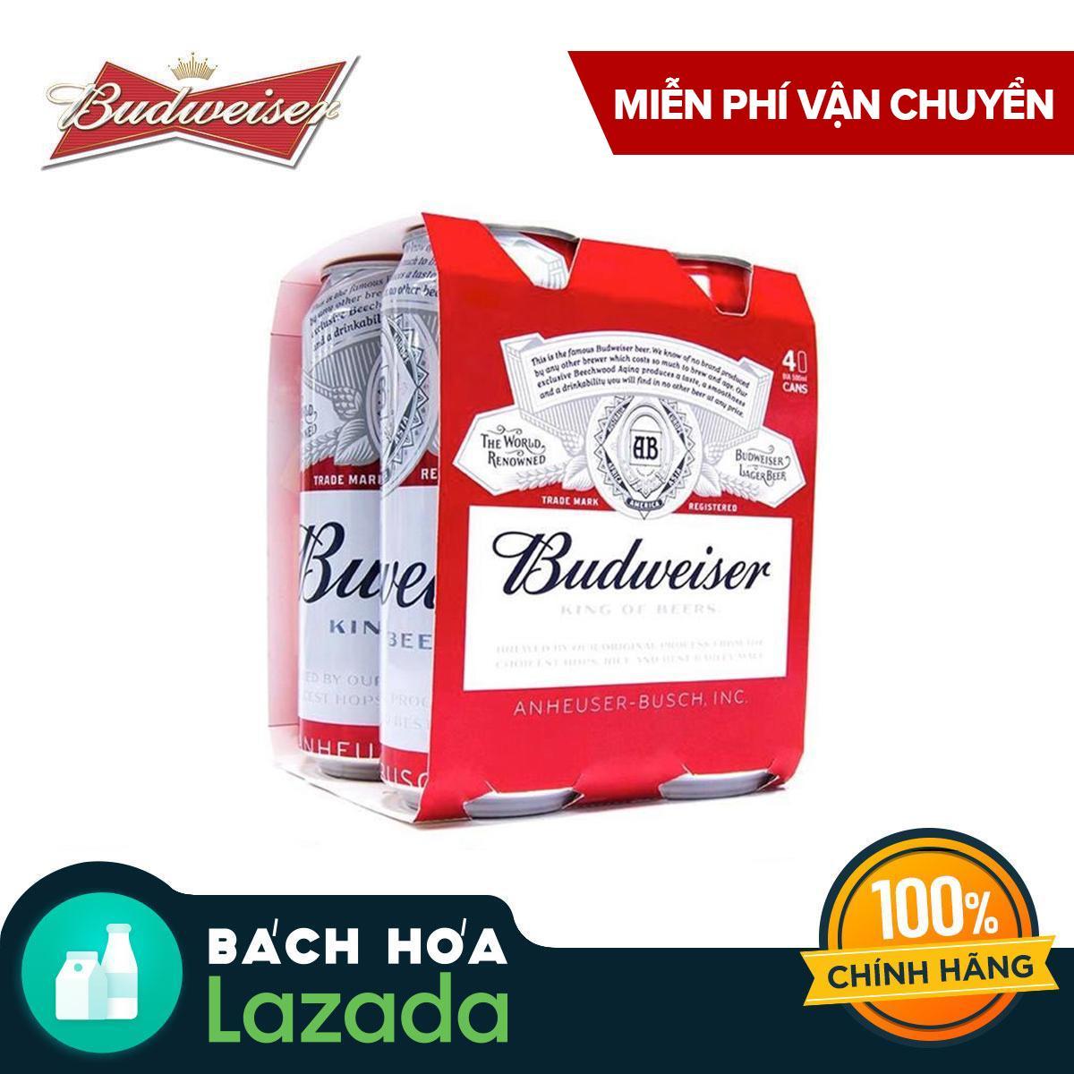 Lốc 4 lon Bia Budweiser 500ml Nhật Bản