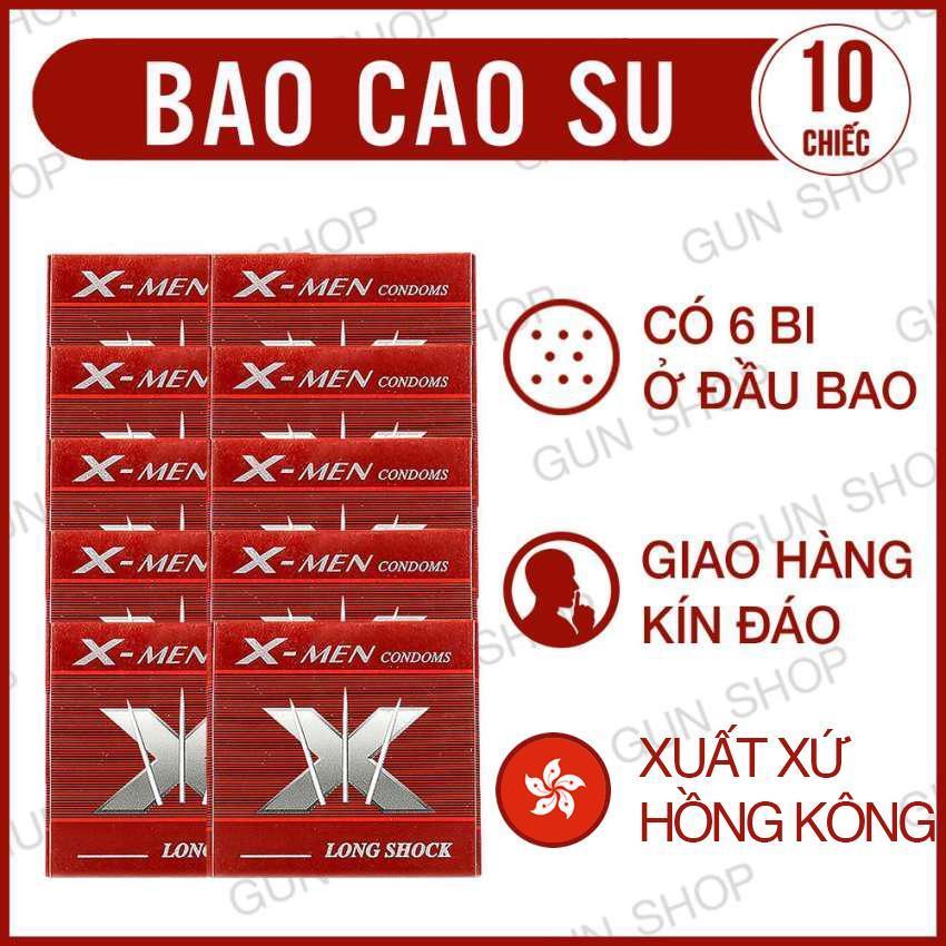 Bộ 10 (10 chiếc) Bao cao su X Bi  (Hồng Kong)[ Gunshop-BCS05 ]