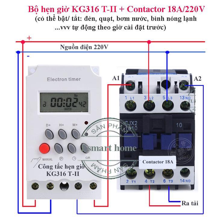 Bộ công tắc hẹn giờ KG316 T-II và contactor 18A dùng để bật tắt thiết bị điện công suất lớn