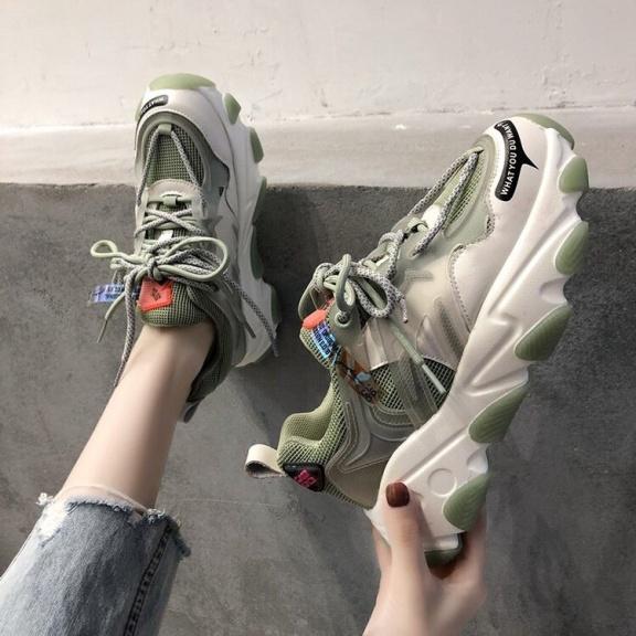 Giày thể thao nữ ULzzang 2 dây buộc kiểu đế cao lượn sóng mẫu mới 2020 CAMSTORE giá rẻ