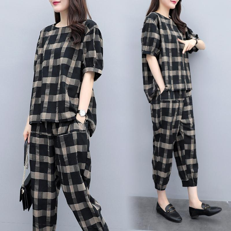 ed861e021f Cotton Linen Plaid women Suit Summer 2019 New Style Fashion Loose And  Plus-sized Slimming