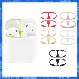 Miếng Dán Bảo Vệ Kim Loại Mạ Vàng Chống Bụi Cho Tai Nghe Bluetooth Không Dây Ốp Lưng Airpod i12 2 Pro Vỏ Case Iphone thumbnail