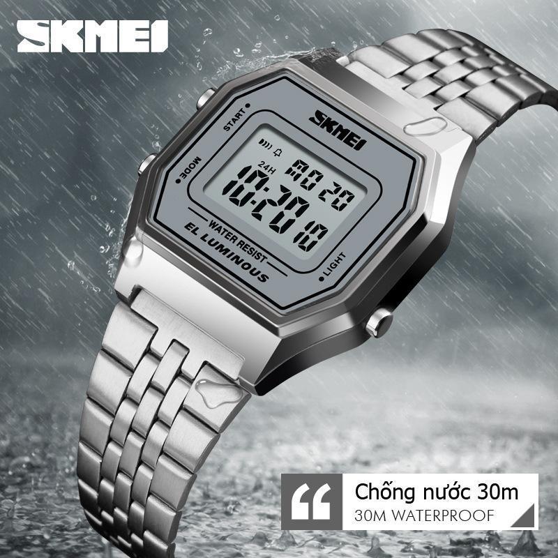 Đồng hồ nữ điện tử dây thép không gỉ cao cấp hottrend 2018 Skmei SK54 EL Luminous chống nước 30m (Màu bạc) bán chạy