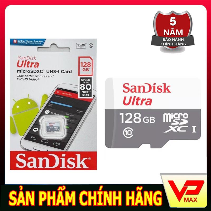Thẻ nhớ Sandisk 128GB tốc độ cao 80MB siêu bền dùng cho điện thoại camera tốc độ cao 80 MB/s tốc độ ghi 10-30Mb/s
