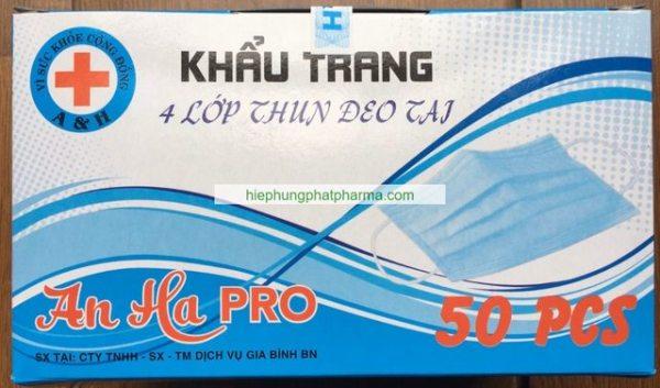 Khẩu trang y tế AN HA PRO 4 lớp than hoạt tính kháng khuẩn