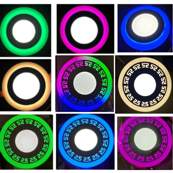 Đèn Led Âm Trần Viền Hoa Văn Viền màu 3 chế độ 3W+3W - thích hợp làm đèn trang trí trần nhà thạch cao - Bảo hành 1 năm