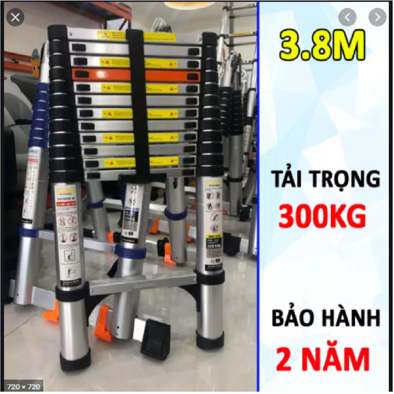 Thang nhôm rút đơn xếp gọn 3m8 SUMIKA SK 380 New 2020 ( màu bạc ). An toàn – Tiện lợi – Tiết kiệm ,13 bậc, tải trọng 300kg,nút cao su chống trượt,chính hãng bảo hành 2 năm.