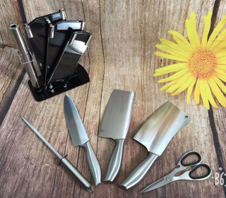 Hàng Đẹp Giá Sốc - Bộ dao Nhật Bản Seki 5 món làm từ thép không gỉ ( có kệ để dao) , dao chặt xương, dao thái, kéo, dụng cụ mài dao... Bảo hành 1 đổi 1, dao chặt cao cấp thumbnail