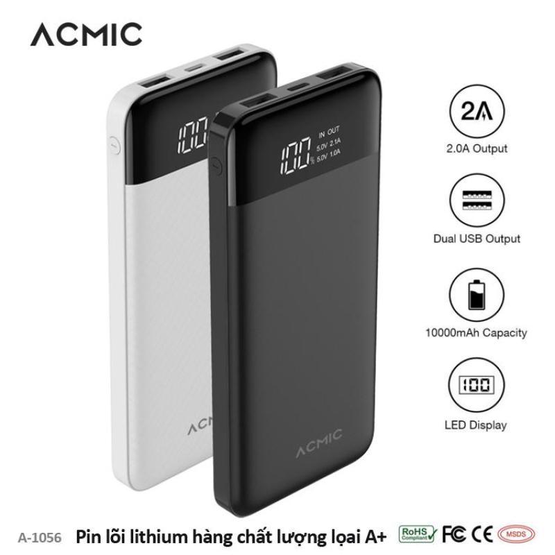 Giá Pin sạc dự phòng cao cấp dung lượng 10000mAh thiết kế màn hình LED hiển thị dung lượng pin, bảo hành 12 tháng ACMIC A-1056