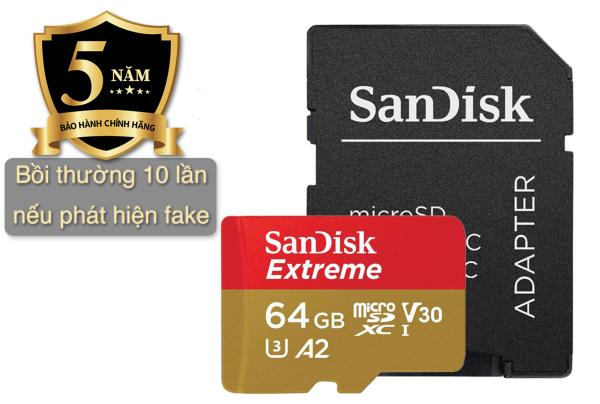 Thẻ Nhớ MicroSD SanDisk Extreme U3/V30 64GB, cam kết chính hãng 100%, Bảo hành 5 năm