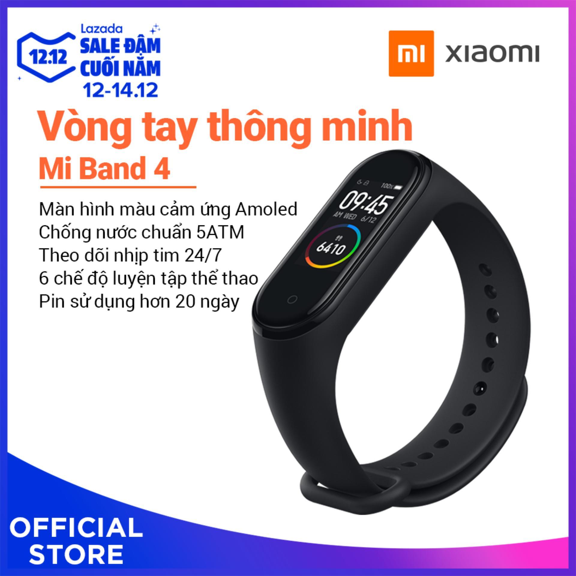 Xiaomi Official Mi Band 4 Đen_ Hàng Chính Hãng, Bảo Hành Bằng Tem 12 Tháng Giảm Cực Sốc