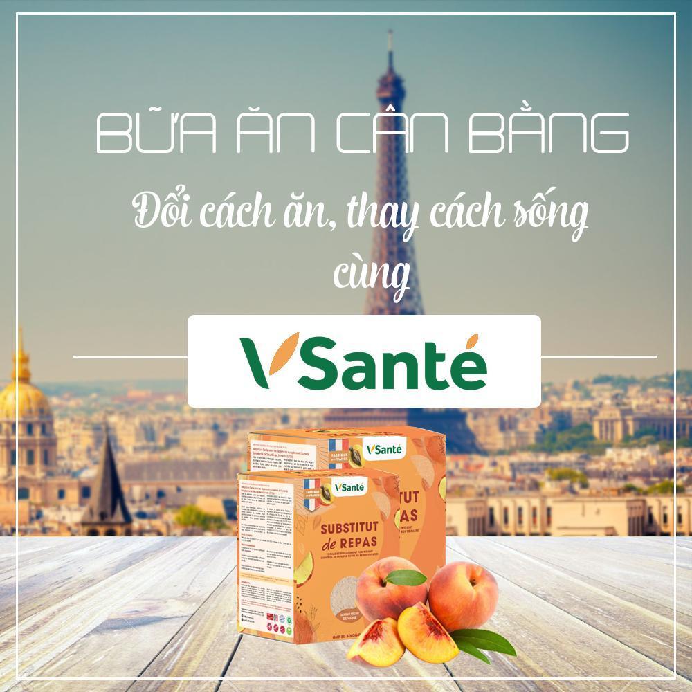 Combo 02 hộp Thực phẩm giảm cân [ Vị Đào ] -Thương hiệu VSanté, Pháp + Tặng kèm bình lắc cao cấp