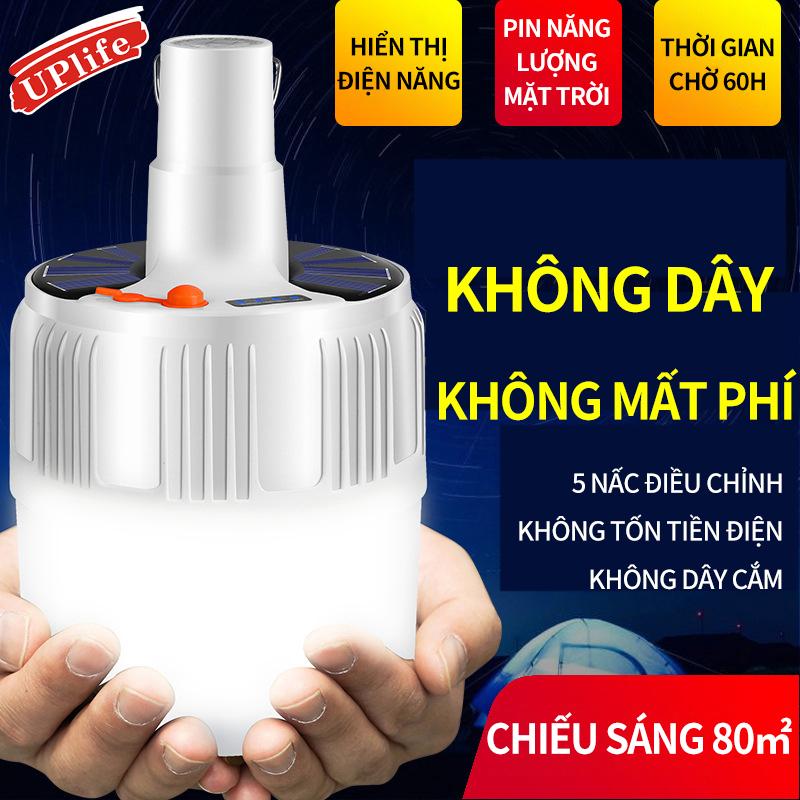 Đèn LED sạc tích điện năng lượng mặt trời có móc treo; Bóng đèn hình cầu tiết kiệm điện; Đèn di động chiếu sáng sạp hàng chợ đêm; Đèn dùng khẩn cấp khi nhà mất điện-Không bao gồm điều khiển remote
