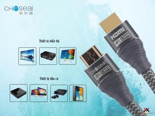 Cáp HDMI Choseal 2.0 4K Cao Cấp loại tròn 5m dành cho Tivi máy tinh 3D 4k Máy Chơi Game PlayStation Xbox đầu HD Box Đầu Android Tv Smart máy chiếu 7