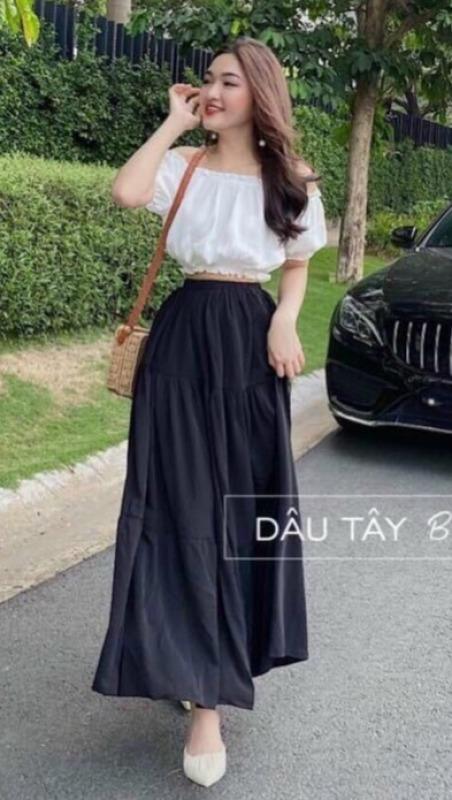 Chân váy dài kèm áo bẹt vai dễ thương set ba màu vàng màu trắng và màu đen