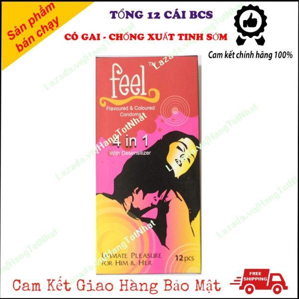 [FREE SHIP 20K ] Bao Cao Su Kéo Dài Thời Gian Gân Gai Feel 4 in 1 Hộp 12 Cái nhập khẩu