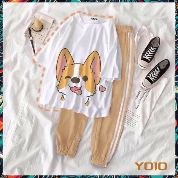 Y06-10 [COMBO TIẾT KIỆM] Set áo thun tay lửng quần kẻ 3 sọc, quần unisex 2 sọc