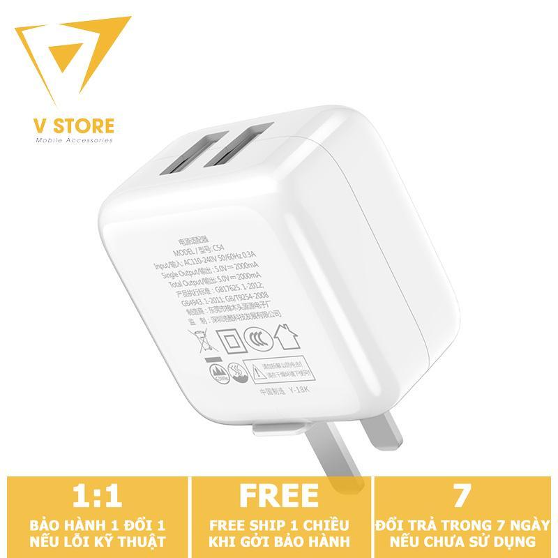 CÓC SẠC 2 CỔNG USB 2.0A HOCO C54 - MÀU TRẮNG