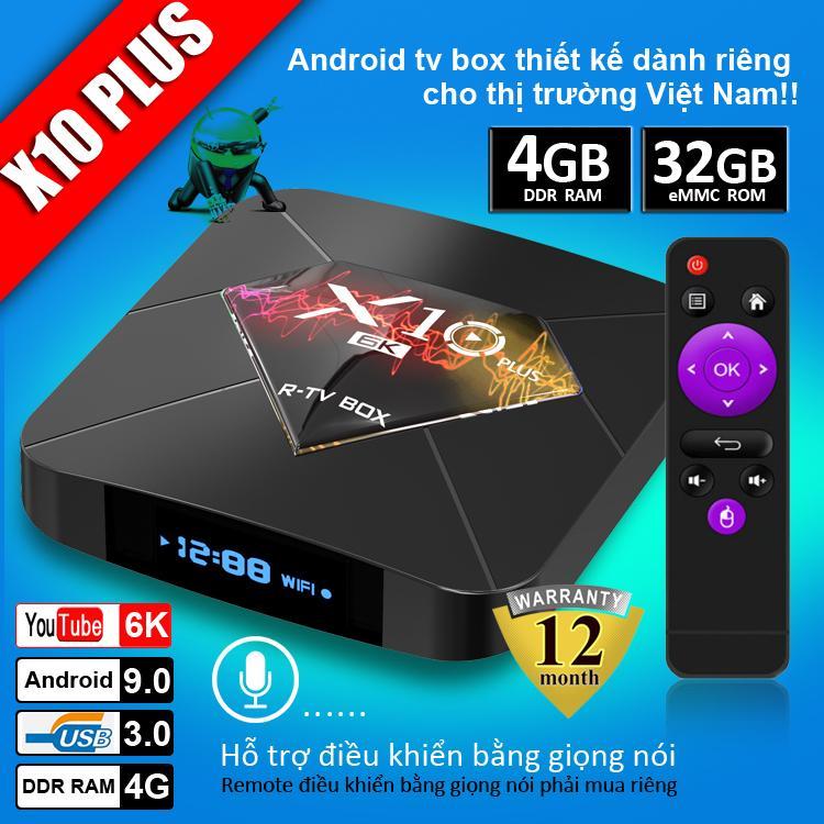 Android TV BOX RAM 4G, Bộ nhớ 32G, xem phim 6K, chơi game, hỗ trợ tính năng tìm kiếm bằng giọng nói mới nhất hiện nay, bảo hành 12 tháng X10 PLUS