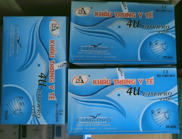 3 Hộp khẩu trang y tế 4U Famapro (Nam Anh) - 4 Lớp - 1 Hộp 50 Cái