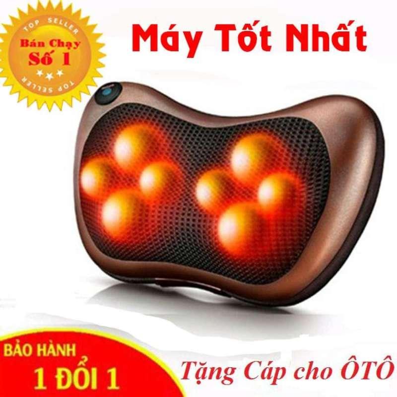 LOẠI TỐT Gối massage hồng ngoại 8 bi thiết kế gọn nhẹ, dễ sử dụng - Tặng Cáp cho Ôto - Bảo hành 1 đổi 1