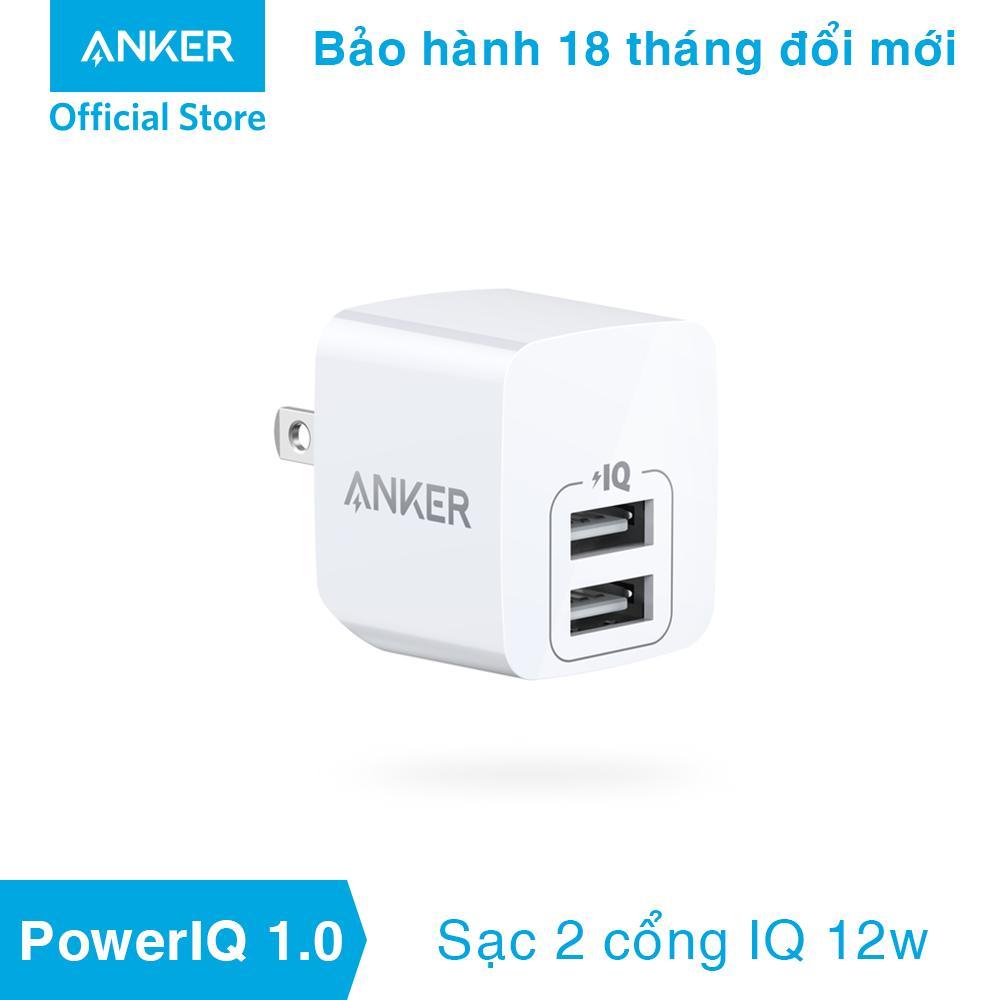 Sạc ANKER PowerPort Mini 2 cổng PowerIQ 12w, bảo hành 18 tháng - A2620