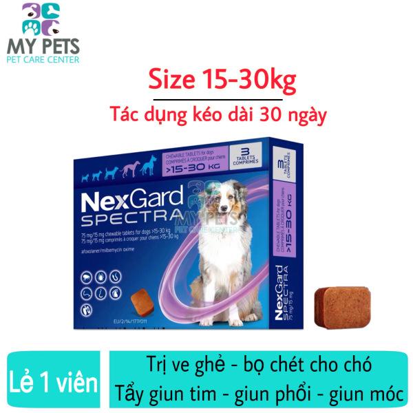 NEXGARD SPECTRA Thuốc trị ve ghẻ, bọ chét, demodex, tẩy giun cho chó - Lẻ 1 viên (size 15-30kg)